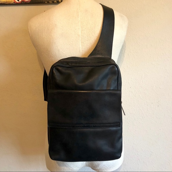 42e1bd46c7 Karen Millen Handbags - Karen Millen Leather Velcro Sling Bag Backpack